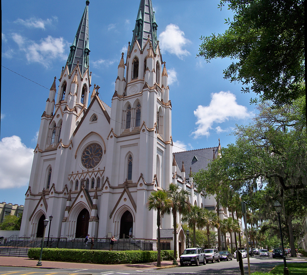 Presbyterian church of savannah whose tower is shown here