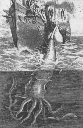 Artist's impression of the Alecton incident, from an 1884 book Sea Monsters Unmasked.