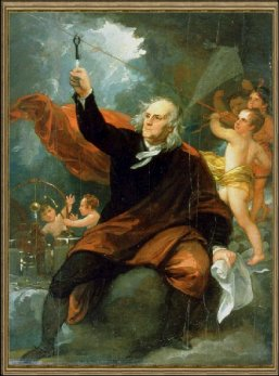Painting Of Benjamin Franklin Touching Key Attached To Kite String In Lightning Storm