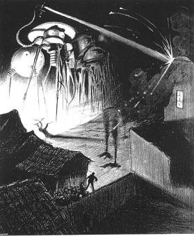 The Martian tripods.  Image from a 1906 Belgian edition of The War of the Worlds.  (via Wikipedia)