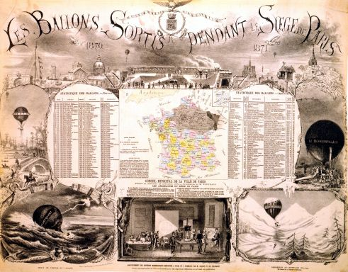 Poster of balloon flights during the siege of Paris, showing their landing location.  (c. 1880, by M. Mangin, via Wikipedia.)
