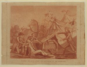 Early drawing of the death of de Rozier and Romain.