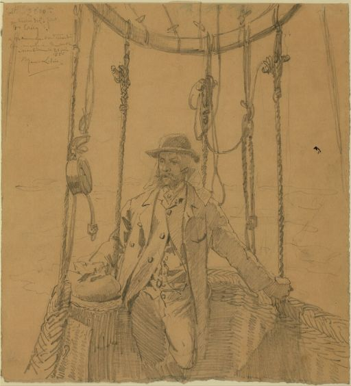 Graphite drawing of Gaston Tissandier, c. 1886.  (Via Library of Congress.)