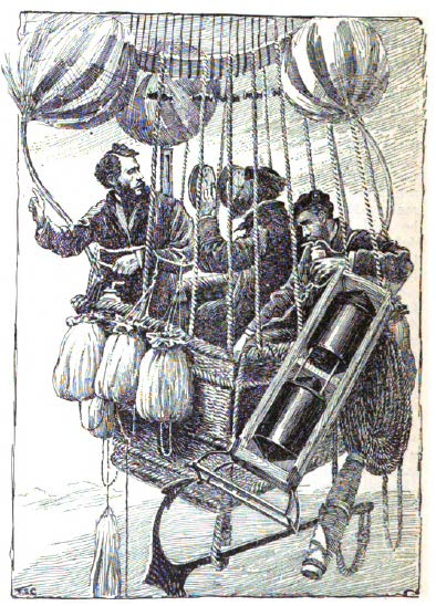 Left to right: Sivel, Tissandier and Croce-Spinelli on their fateful 1875 balloon flight.  Via McClure's Magazine.
