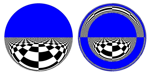 Two views through an electromagnetic wormhole; the left is for a very short hole, while the right is for a large one.  Image from paper, via PhysicsWorld.