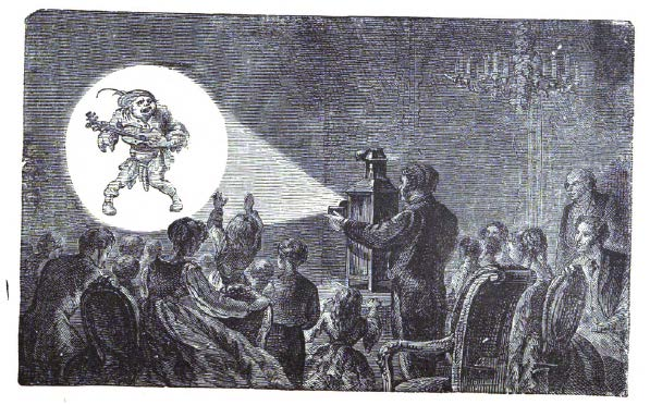 A magic lantern demonstration, from Wonders of Optics.