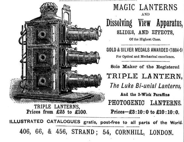 "1886 advertisement for a ""triple lantern,"" via Wikipedia."