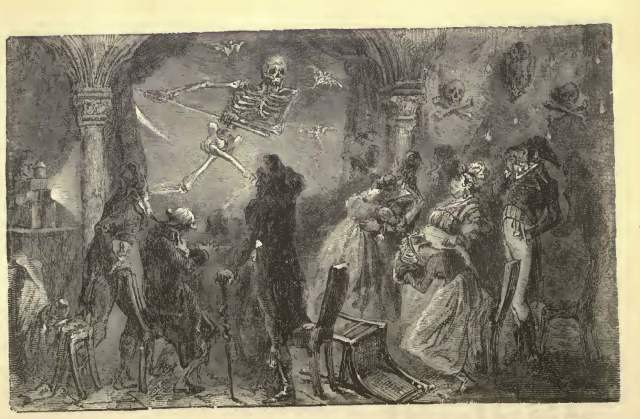 Depiction of phantasmagoria, from Marion's Wonders of Optics.