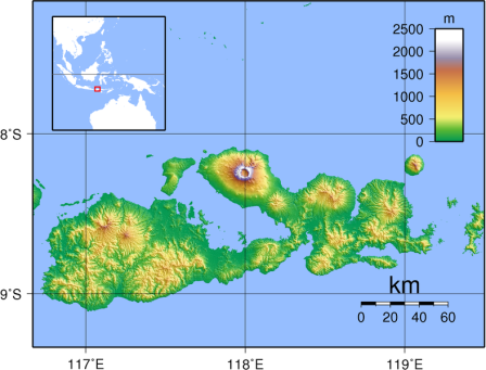 The island of Sumbawa, with Mount Tambora clearly seen.  Via Wikipedia.