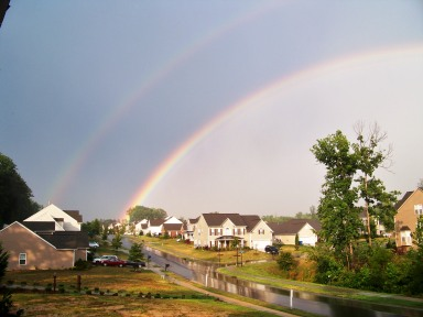 Double rainbow.  It was, in fact, all the way.