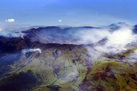 The caldera of Mount Tambora today, via Wikipedia.