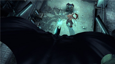 Batman takes down Victor Zsasz -- actual gameplay. (Via Wikipedia.)