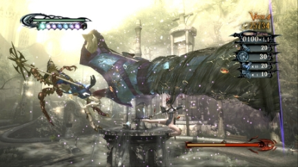 Bayonetta uses her hair in a massive kick attack on an enemy. Via Wikipedia.