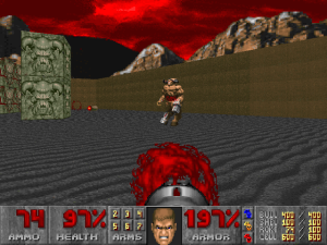 Player squares off against the Cyberdemon, the most pants-wetting-inducing opponent in Doom.  (Via The DOOM Wiki.)
