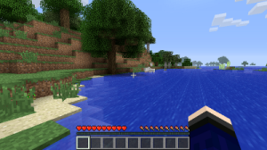 A screenshot from an early version of Minecraft, via Wikipedia.