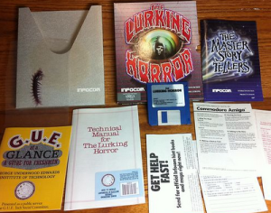 The complete contents of The Lurking Horror box, including the unmentioned centipede.  Via Retro Treasures.