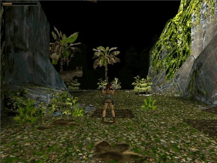 "A t-rex comes out to say ""hi!"" After this moment, I was completely hooked on Tomb Raider.  Via Perusing Pixels."