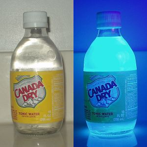 Tonic water fluorescing blue under UV light, via Wikipedia. (Gotta try this myself soon!)