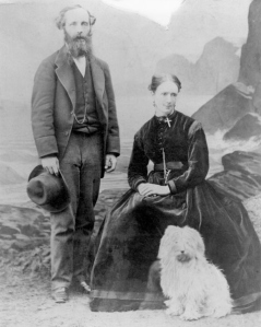 James and Katherine Clerk Maxwell, in 1869.  No word on whether he dropped the dog.  Via Wikipedia.
