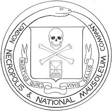 Logo for the London Necropolis Railway, via Wikipedia.