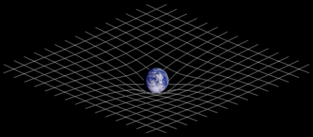 "The standard sort of image used to illustrate Einstein's general relativity, albeit crudely: a massive planet ""warps"" the flat space around it.  Via WIkipedia."