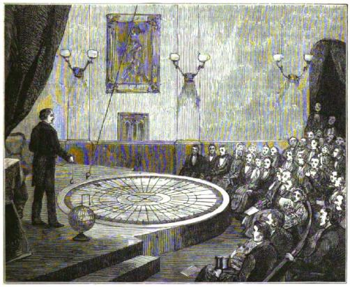 Illustration of an 1861 Foucault pendulum demonstration at the London Polytechnic Institute.  Image from The World of Wonders (1883).