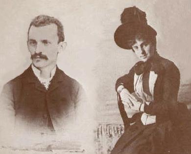 Giuseppe Peano and wife Carola Crosio in 1887, via Wikipedia.