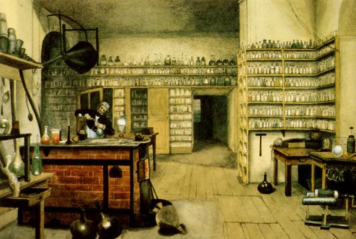 A watercolor painting of Faraday in his laboratory, by Harriet Jane Moore, via Wikipedia.