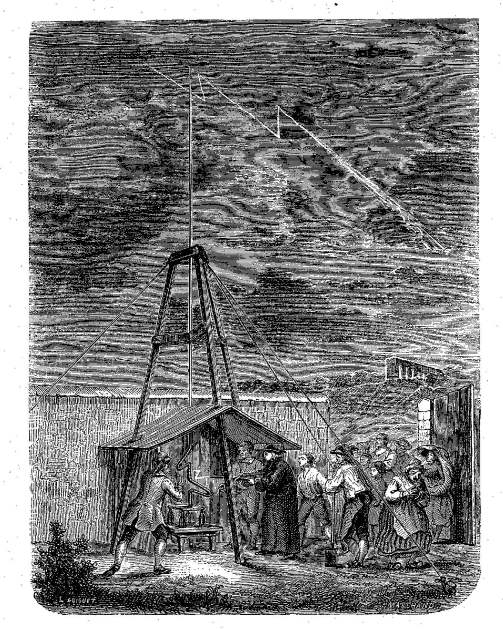 A depiction of Dalibard's 1752 experiment at Marly-la-Ville. Taken from Louis Figuier,