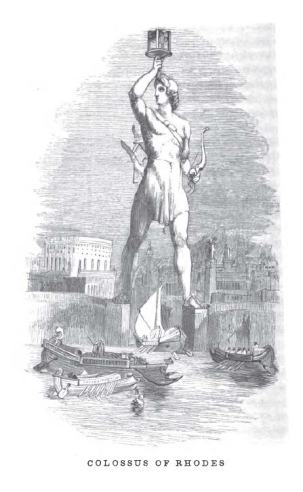 The Colossus, as imagined in an 1854 book.