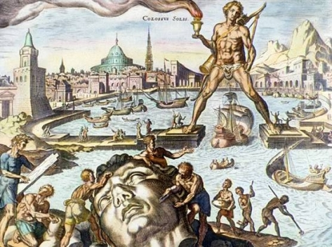 The Colossus of Rhodes, and its ruin, as imagined by Heemskerck.