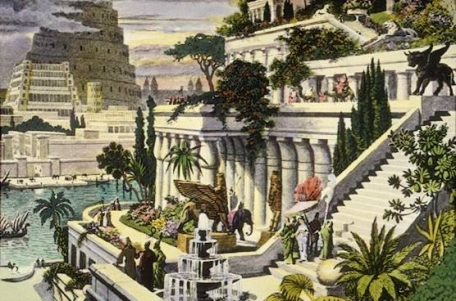 The Hanging Gardens of Babylon, at imagined by Heemskerck.