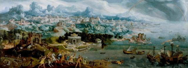 Maarten van Heemskerck,  Panorama with the Abduction of Helen Amidst the Wonders of the Ancient World.  Via Wikipedia.