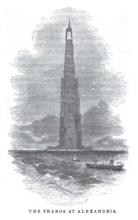 The lighthouse, as imagined in an 1854 book*.