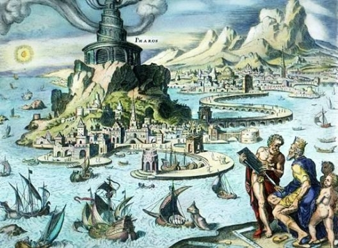 The Pharos of Alexandria, as imagined by Maarten van Heemskerck.