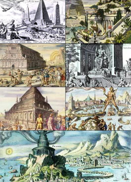 The Seven Wonders of the World, as imagined by Maarten van Heemskerck in 1572.  Via Wikipedia.