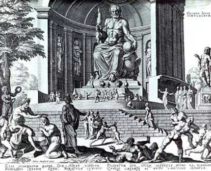 An engraving based on a drawing of Heemskerck of the Statue of Zeus.