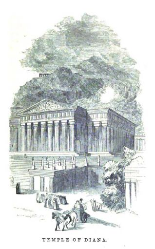 The Temple of Artemis (Diana), as imagined in an 1854 book.