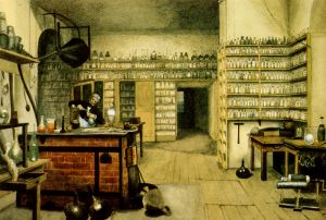Faraday in his lab, circa 1850, by Harriet Jane Moore.  Via Wikipedia.