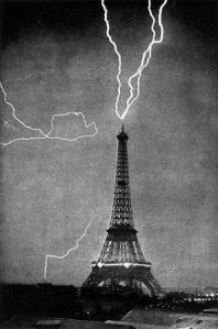 Lightning strikes the tower in June 1902. (Image originally from Wikipedia.)