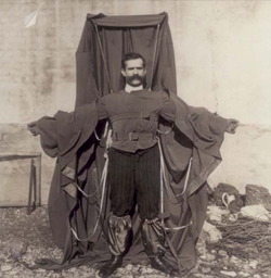 Franz Reichelt (1879-1912), wearing the parachute suit that led to his death. (Image from Wikipedia.)