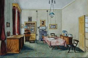 Faraday's study at the Royal Institution, by Harriet Jane Moore, via Wikipedia.