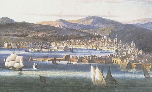 Genoa, circa 1810, as painted by Ambroise Louis Garneray, via Wikipedia.