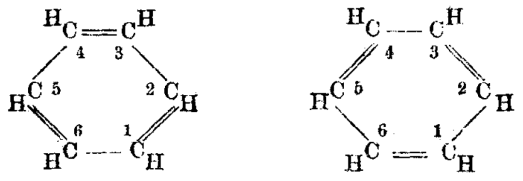 Illustration of the historic benzene molecule, as first proposed by Kekulé.