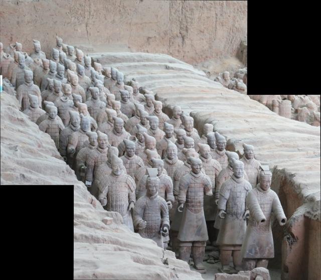 Panorama of a column of Warriors.