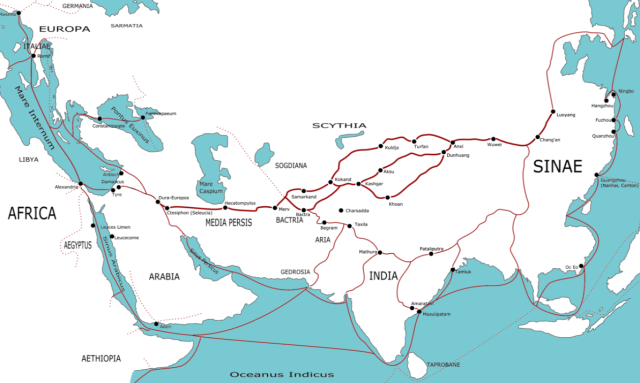 Trading routes on the Silk Road around roughly 100 CE.  Image by