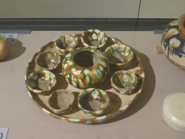 Tri-color glazed cups.