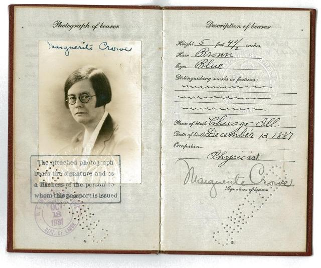 Crowe's 1928 passport, courtesy of Alice Zent.