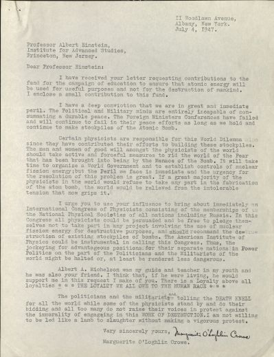 Letter from Marguerite O'Loghlin Crowe to Albert Einstein, 1947.  Via the LIbrary at Oregon State.