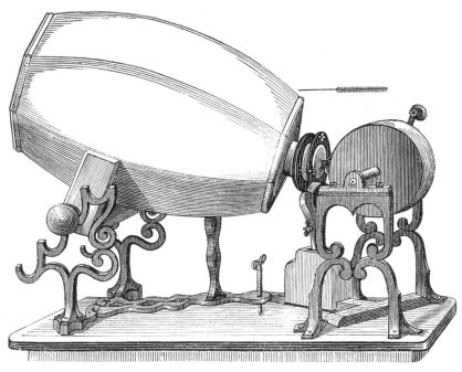 An 1859 phonautograph, via Wikipedia.